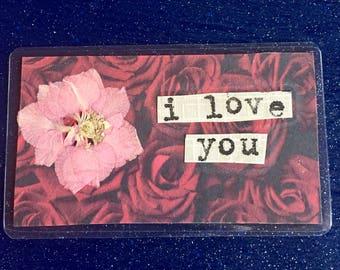 Collage wallet card, pressed flower, handmade, keepsake, gift