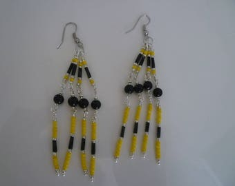 Earrings made with 2mm seed beads