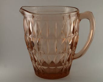 Depression Glass Pitcher (52 oz.), Windsor Diamond Pattern by Jeannette Glass Company