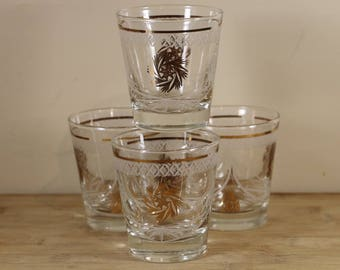 Clear Old Fashioned Glasses with Gold and White Motif - Set of 4