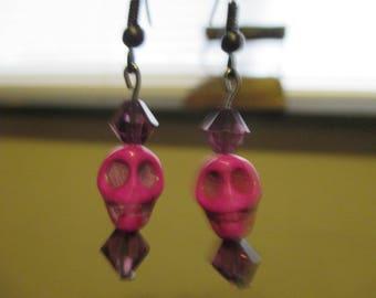 Purple Howlite Skull Earrings