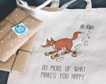 Tote bag, Do more of what makes you happy, snow, fox