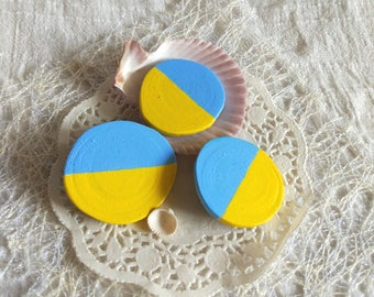 Painted wood Brooch,handcrafted jewelry,wooden brooches,Geometric brooch,Ukrainian flag,yellow blue,colorful wooden,eco friendly, gift up 15