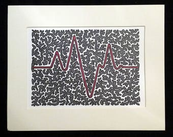 Heartbeat 1.1 - Original Abstract Artwork, Red and Dark Gray