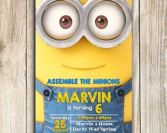 Minion Invitation, Minion Birthday Invitation, Minion, Minion Printable, Minion Birthday Card, Minion invites, Minion Party, Minion Card