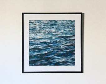 Blue Waves Watercolour Painting
