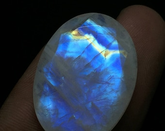 Natural African Rainbow Moonstone 22x30mm approx Oval faceted gemstone code#RM85