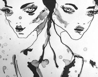 Duality, India ink painting on canvas