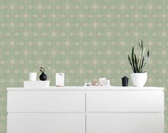 Removable wallpaper/Wallpaper/Peel and Stick/Self adhesive wallpaper/Temporary wallpaper /Modern Wallpaper /Retro styl  patern S130