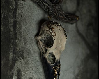 Skull of a raven necklace . Bird's skull necklace. Cranium. Gothic  necklace.