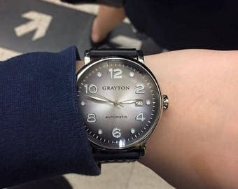 GRAYTON AUTOMATIC WATCH, Grey Radiant Dial, Leather Strap
