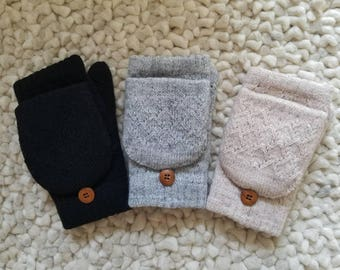 Warm Fingerless Winter Gloves with Flap