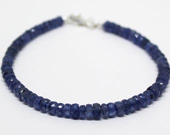 Blue Sapphire faceted rondelle bracelet 8 inch 4-5mm September birthstone