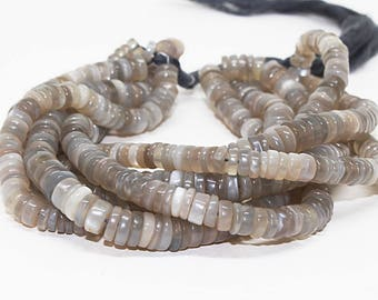 """New Arrival Grey Moonstone Smooth Tyre Shape Beads,Length 16"""" Strand,Beads Size 5-6 mm 