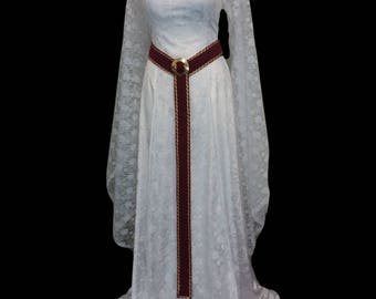 wedding dress, renaissance dress, medieval wedding gown, Princess gown, white lace dress, elven dress