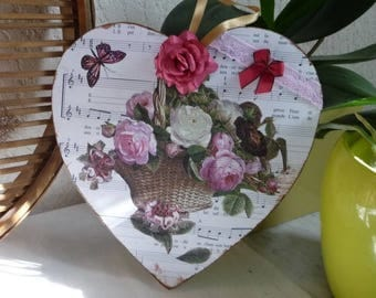 "Romantic heart and vintage ""armful of roses"""