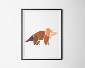 brown ,dinosaur, wall art, children's room, minimal, boys room, girls room, shades of blue, artwork