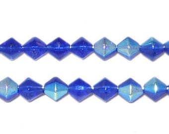 6mm Bi-cone Navy AB Finish Fire Polish Glass Bead
