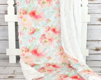 Floral Baby Blanket - Minky Baby Blanket - Mint Blanket - Pink Baby Blanket - Blush Baby Blanket - Girl Blanket - Baby Blanket Girl