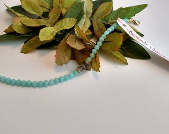 Amazonite stone bracelet/ Labradorite bracelet/ natural stone bracelet/ stacking bracelet/ boho chic/ teal bracelet/ gold accents/