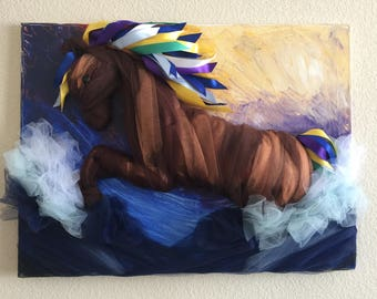 Horse by the ocean. Tulle and ribbon art on canvas.