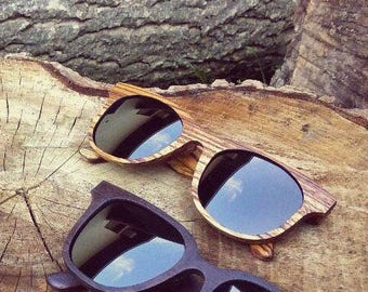Handcrafted wooden eyewear, handmade wooden sunglasses, CRAFT Firstborn - 100UV protection, spring hinges, microfiber cloth