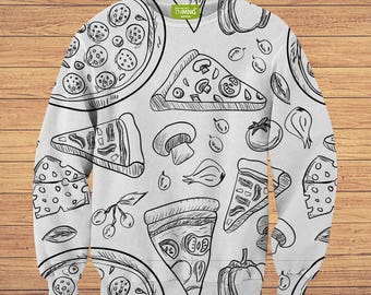 TeenMango Colorful Sketchy Pizza Sweater (fullprint, colorfull) free worldwide shipping