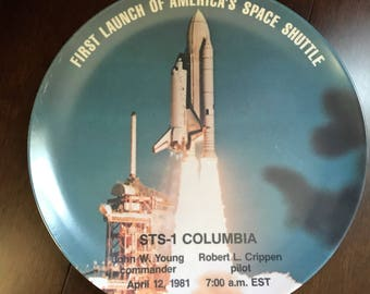 RARE STS 1 Columbia Space Shuttle Commemorative Plate