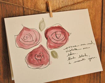 Funny Love Card - Poetic Love Card, Silly Love, I Want You