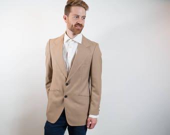 1980's Vintage Mens Medium Camel Beige Sports Coat / Paulo Conti Suit Blazer / Made in Canada
