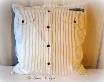 Housse de coussin chemise à poches coton blanc rayé