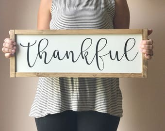 Thankful sign - Fall decor - Custom wood sign - Fall sign - Thanksgiving sign - Housewarming gift - Living room sign - Farmhouse sign