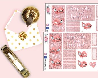 Pink Glitter Planner Sticker, Love Pink Stickers, Pink Lipstick Sticker, Cute Kawaii Stickers, Hot Lips Stickers, Planner Accessory