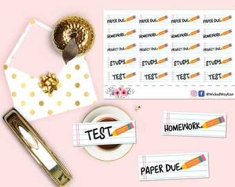 School Study Planning Sticker, School Planner Sticker, Education Planner Stickers, 20 Stickers, Planner Accessory, Scrapbook Sticker