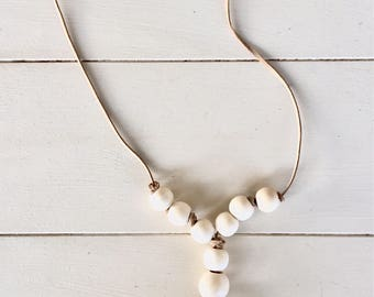 Simple Leather Cord Tassel Necklace