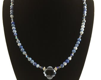 Blue beaded natural stone necklace