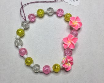 Pink and Yellow Beaded Bracelet with Pretty Flowers
