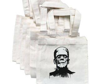 Frankenstein Treat Bags, Halloween Party Favor Bags, Frankenstein Bags, Party Favor Bags, Cotton Party Bags, Halloween Party, Halloween Bags