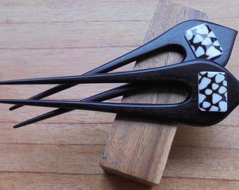 Sea Shell Wood Hair Sticks in 2 Prongs, Hair Pin, Hair Fork, Hair Accessories HS106