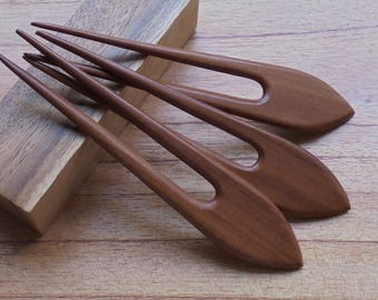2 Prongs Wooden Hair Sticks, Hair Pin, Hair Fork, Hair Accessories HS112