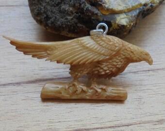 Eagle Bone Pendant in Brown Color, Bali Bone Carving P339