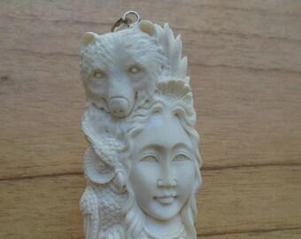 Owl Bear Goddess Bone Pendant, Goddess Bone Carving, Bali Bone Jewelry SPC 01