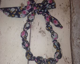 Fabric Bead Statement Necklace