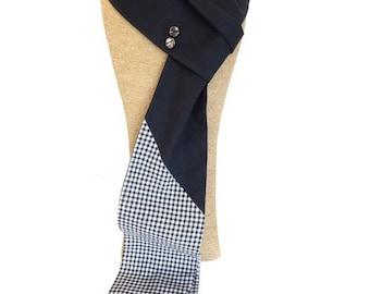 """COB"" - black GINGHAM pattern scarf"