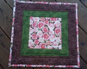 Quilted table topper, square table topper, table runner, floral table topper, candle mat, quilted decor