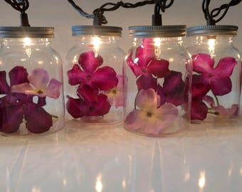 Hydrangea Mason Jar String Lights-Wedding Lights-Flower String Lights-Summer Wedding Lights-Spring Wedding Lights