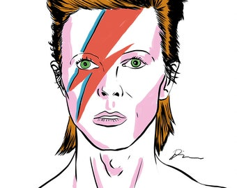 David Bowie Portrait Framed Illustration