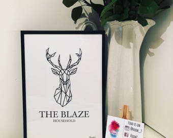 Surname family Geometric Stag print