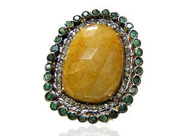 Diamond Ring with Yellow Sapphire and Emerald