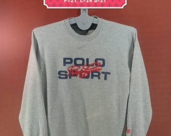 Vintage Polo Sport Sweatshirt Polo Ralph Lauren Sweater Spellout Embroide Gray Colour Size 95 Polo Bear Polo Stadium Supreme Sweatshirt